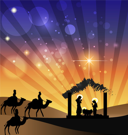 Nativity scene Family holy and Kings arriving to Bethlehem icon Vectores