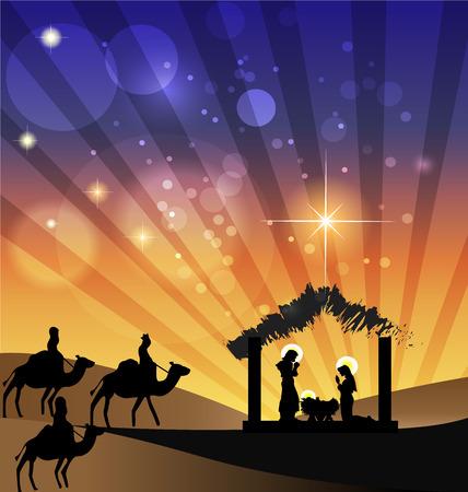 estrella de belen: Escena de la familia Natividad santa y Kings llegar a Belén icono Vectores