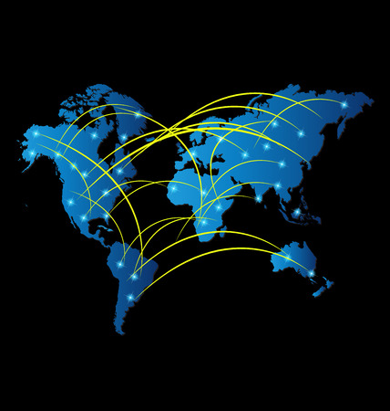 connections: World internet trade market icon background