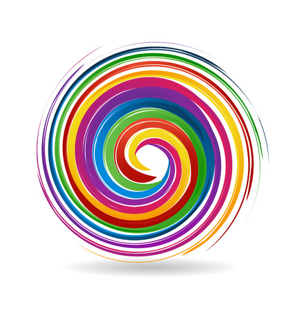 spiral vector: Waves with rainbow colors background image design template vector icon Illustration