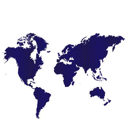 azul marino: Dark Blue World Map Vector imagen de icono