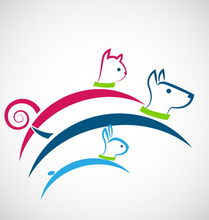pal: Pets jumping colorful icon identity business card