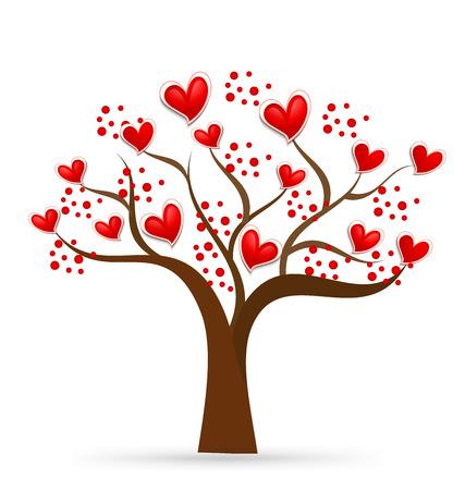 dibujo: Árbol del amor. Corazones de San Valentín. Tarjeta de visita de identidad. Vector icono Vectores