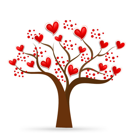 Tree of love. Valentines hearts. Identity business card. Vector icon