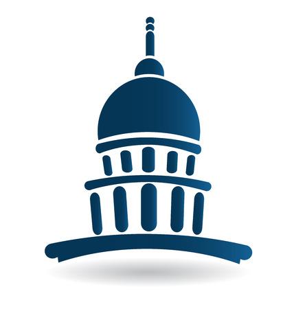 edificio: Capitol icono de la construcción de templos de diseño de logotipo vectorial Vectores