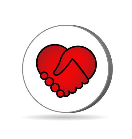 Handshaking heart icon vector design Vector