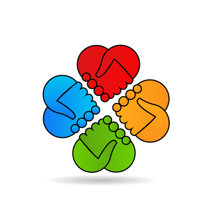 Teamwork handshake hearts icon vector design