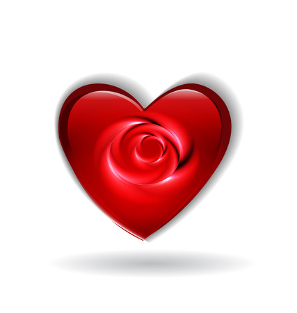 Valentines heart with rose flower abstract icon vector template Vector