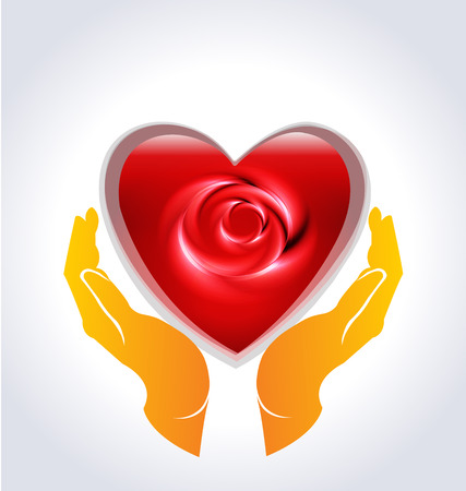 Valentines heart rose flower hands icon vector template Vector