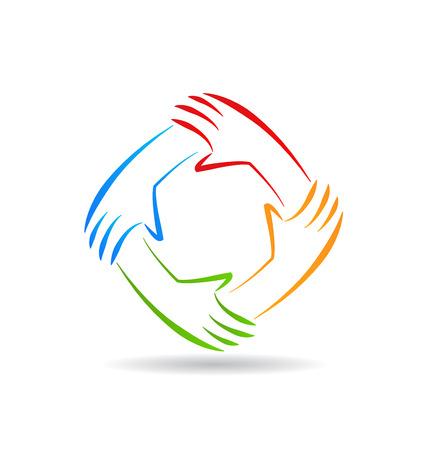 carta identit�: Lavoro di squadra mani unit� carta d'identit� icone vettoriali