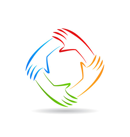 multi cultural: Teamwork unity hands identity card vector icon