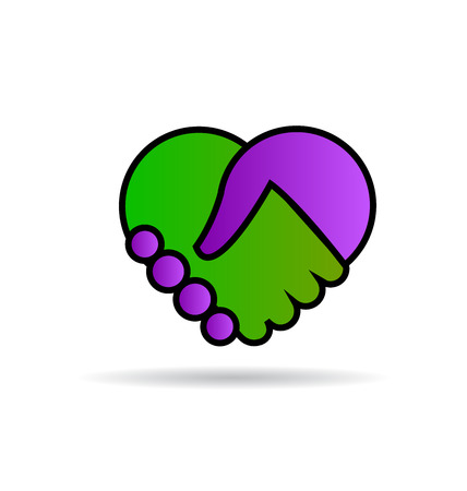 Handshake heart icon vector design