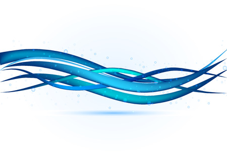 Blue wavy background template vector image