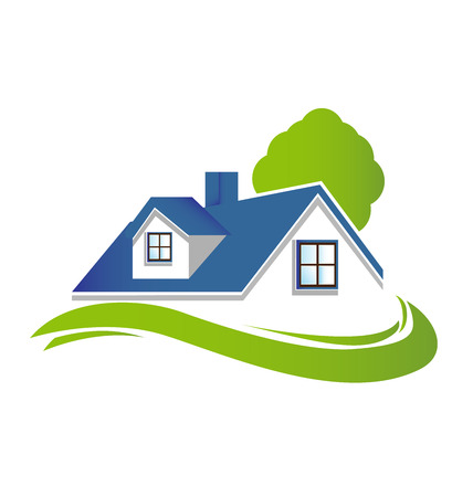 logotipo de construccion: Casas apartamentos con árboles y verde jardín icono vector logo