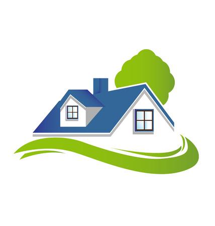 logo batiment: Maisons appartements avec arbre et jardin vert vecteur ic�ne logo