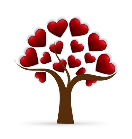 amicizia: Albero icona del cuore di amore template logo vettoriale Vettoriali