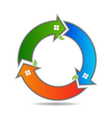 flechas curvas: Casas hojas verdes flechas círculo icono de forma plantilla