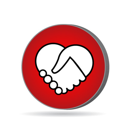 Handshake red icon vector design Vector