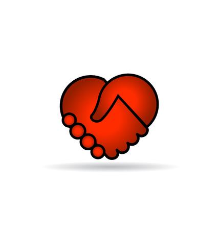 handshaking: Handshaking red heart icon design Illustration