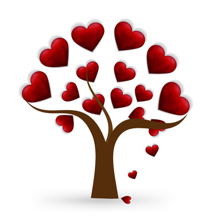 Vector tree heart love logo icon template