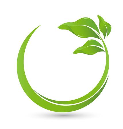 治癒: 緑の円は、web グラフィック デザイン アイコン ベクトルの葉します。  イラスト・ベクター素材