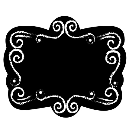 stock photographs: Black chalk board template vintage frame with blank space for your design vector Illustration