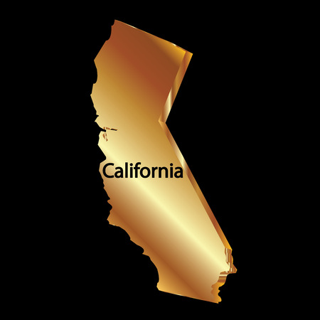 Gold california state 3D vector map Vector