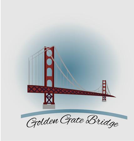 San Francisco ゴールデン ゲート ブリッジ エンブレム アイコン ベクトルのデザイン
