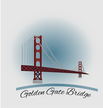San Francisco Golden Gate Bridge emblem icon vector design Illustration