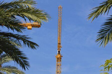 machinery: Modern skyscraper construction crane machinery picture background Stock Photo