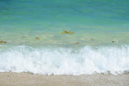 shore line: Blue wavy beach ocean web background