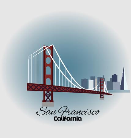 san francisco: San Francisco Golden Gate Bridge with skyline buildings icon