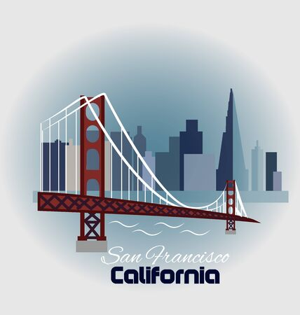 sf: California-San Francisco with skyline buildings label icon