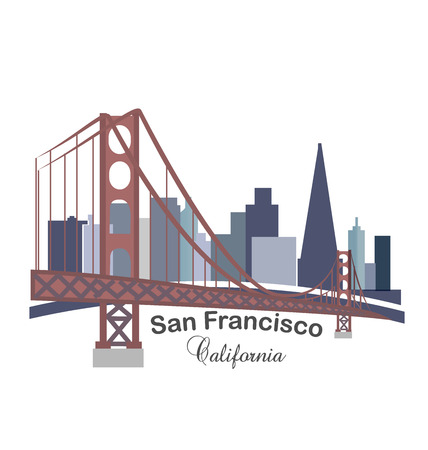 California skyline buildings with golden gate bridge icon Illustration