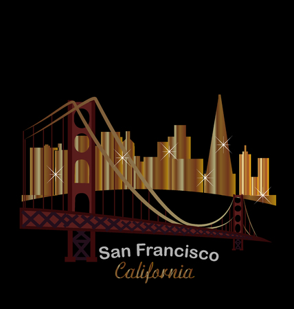panoramic beach: San Francisco gold skyline buildings night with bright lights and golden state bridge Illustration