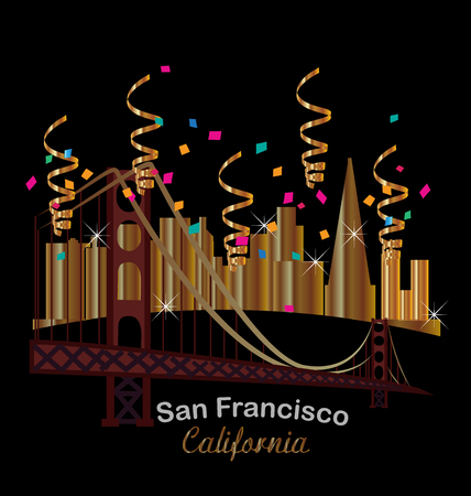 panoramic beach: San Francisco gold skyline buildings night party confetti celebration Illustration