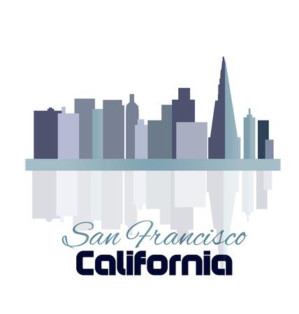 San Francisco スカイライン建物と反射水ベクトル テンプレート