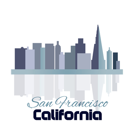 panoramic beach: San Francisco skyline buildings and reflection water vector template