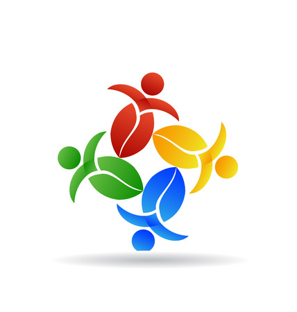 Teamwork nature leafs identity card icon background