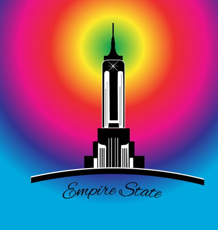 empire state building: Empire state New York rainbow color icon vector