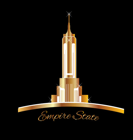 empire state building: Empire state New York golden icon vector