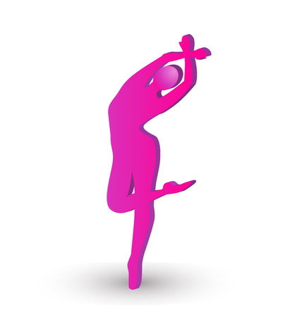 ballerina silhouette: Woman curve ballerina silhouette vector icon Illustration