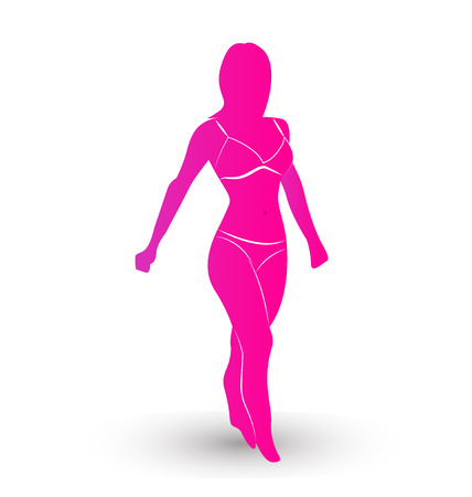 hair treatment: Woman with pretty pink body silhouette vector icon Illustration