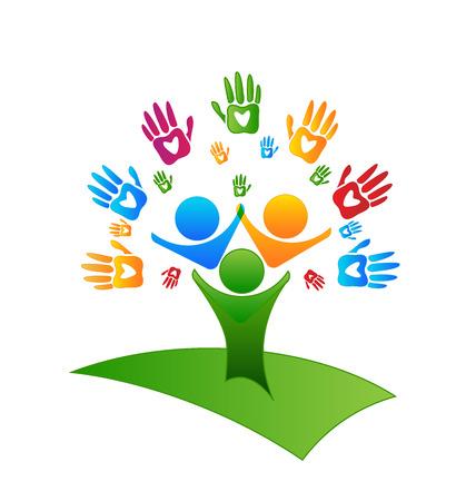 jardin de infantes: Manos de los árboles y corazones Figuras logo Vectores