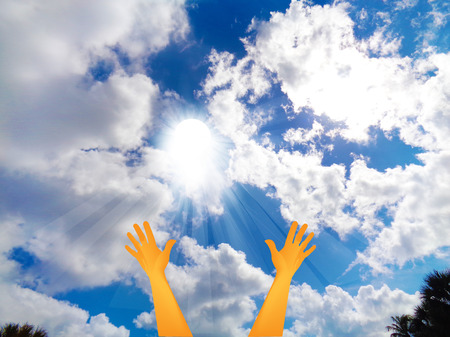 Hopeful hands with faith concept vivid blue sky background photo