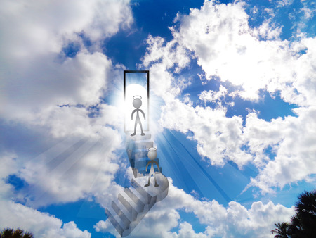 Walking to heaven blue shiny vivid cloudy sky background photo