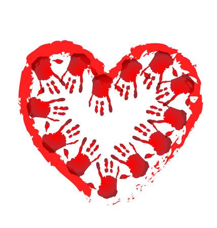 jardin de infantes: Manos del trabajo en equipo en una forma de corazón concepción médica del icono del vector Vectores