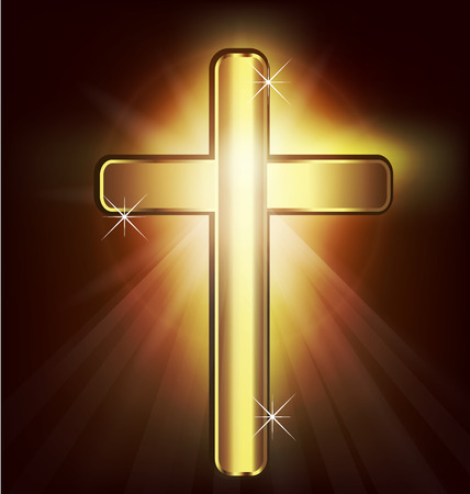 cruz religiosa: Cruz cristiana del oro imagen de fondo vector
