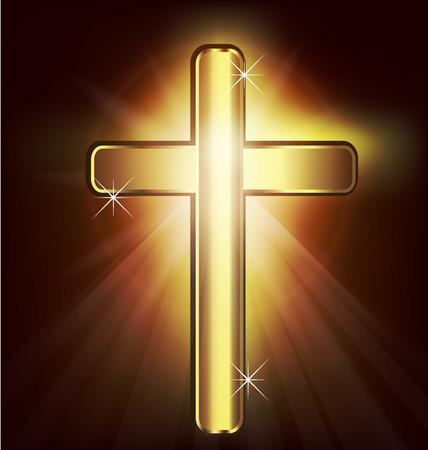 Gouden Christelijk Kruis afbeelding vector achtergrond