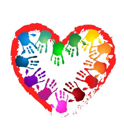 mundo manos: Manos del trabajo en equipo en una forma de corazón concep caridad icono vector